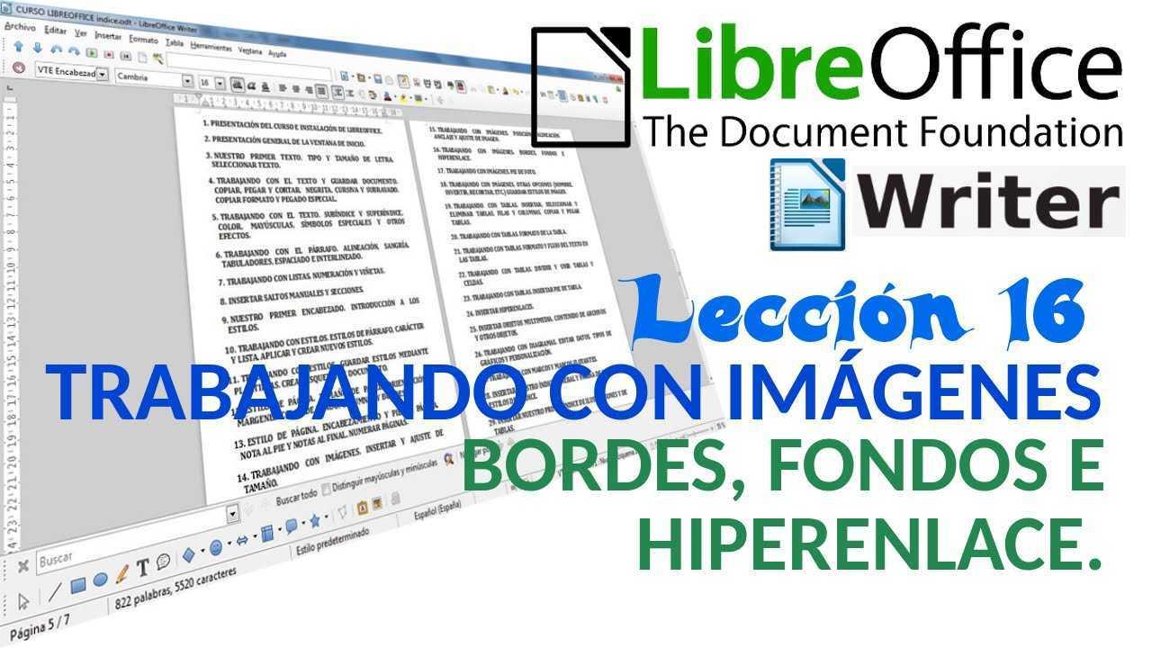LibreOffice Writer 16/40 Trabajando con imágenes. Bordes, fondos e hiperenlace.