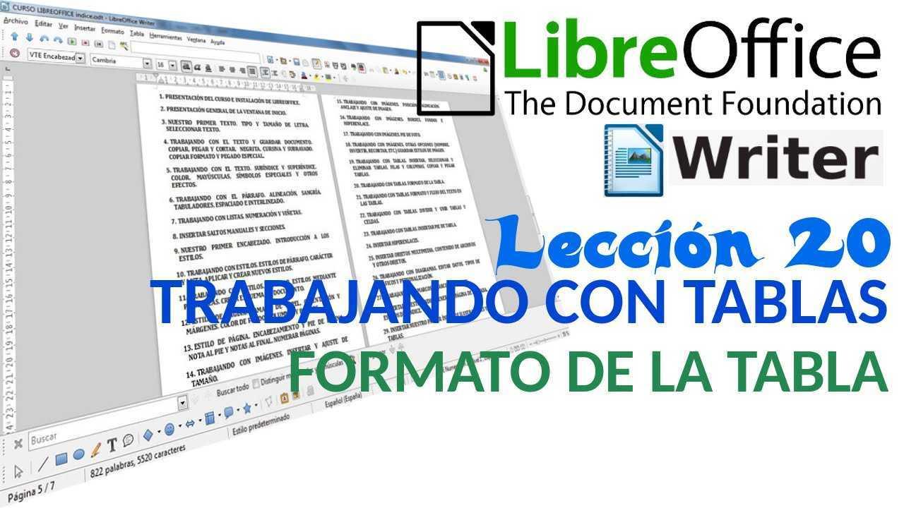 LibreOffice Writer 20/40 Trabajando con tablas. Formato de la tabla.