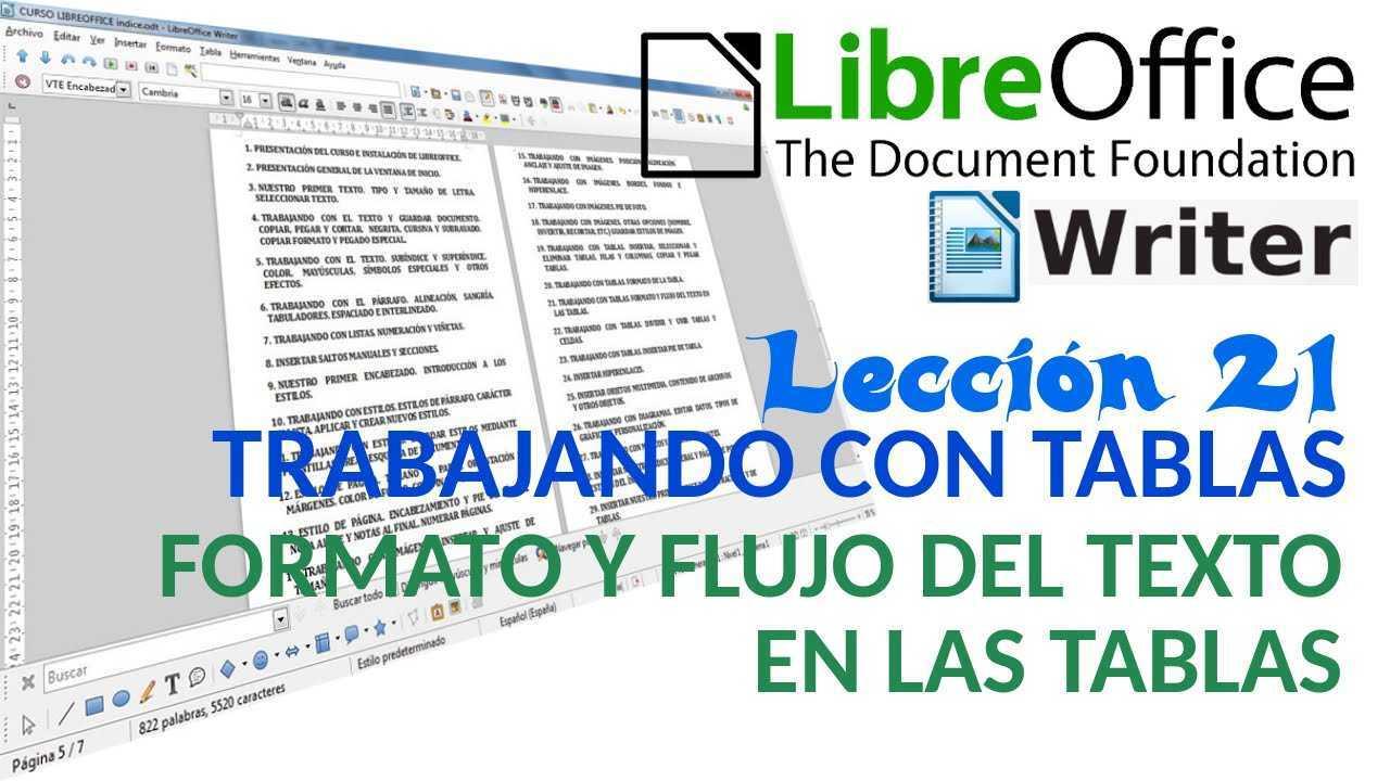 LibreOffice Writer 21/40 Trabajando con tablas. Formato y flujo del texto en las tablas.