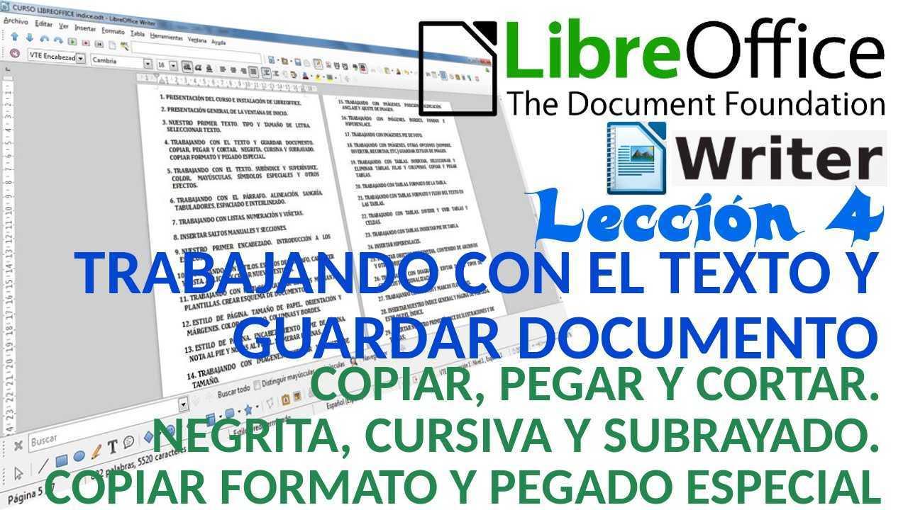 LibreOffice Writer 04/40 Copiar, pegar y cortar. Negrita, cursiva y subrayado.