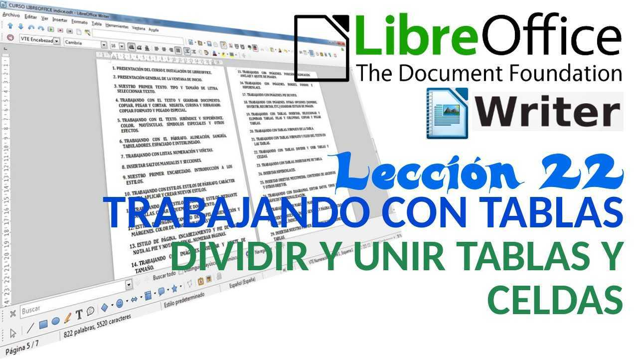 LibreOffice Writer 22/40 Trabajando con tablas. Dividir y unir tablas y celdas.