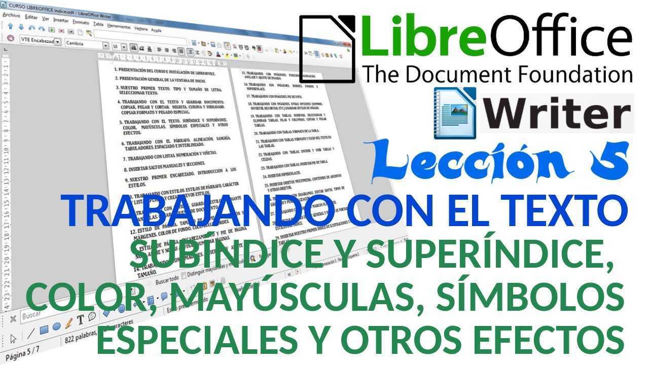 LibreOffice Writer 05/40 Subíndice, superíndice, color, mayúsculas, símbolos, suprarayado, relieve, tachado, contorno, sombra, intermitencia u ocultar el texto.