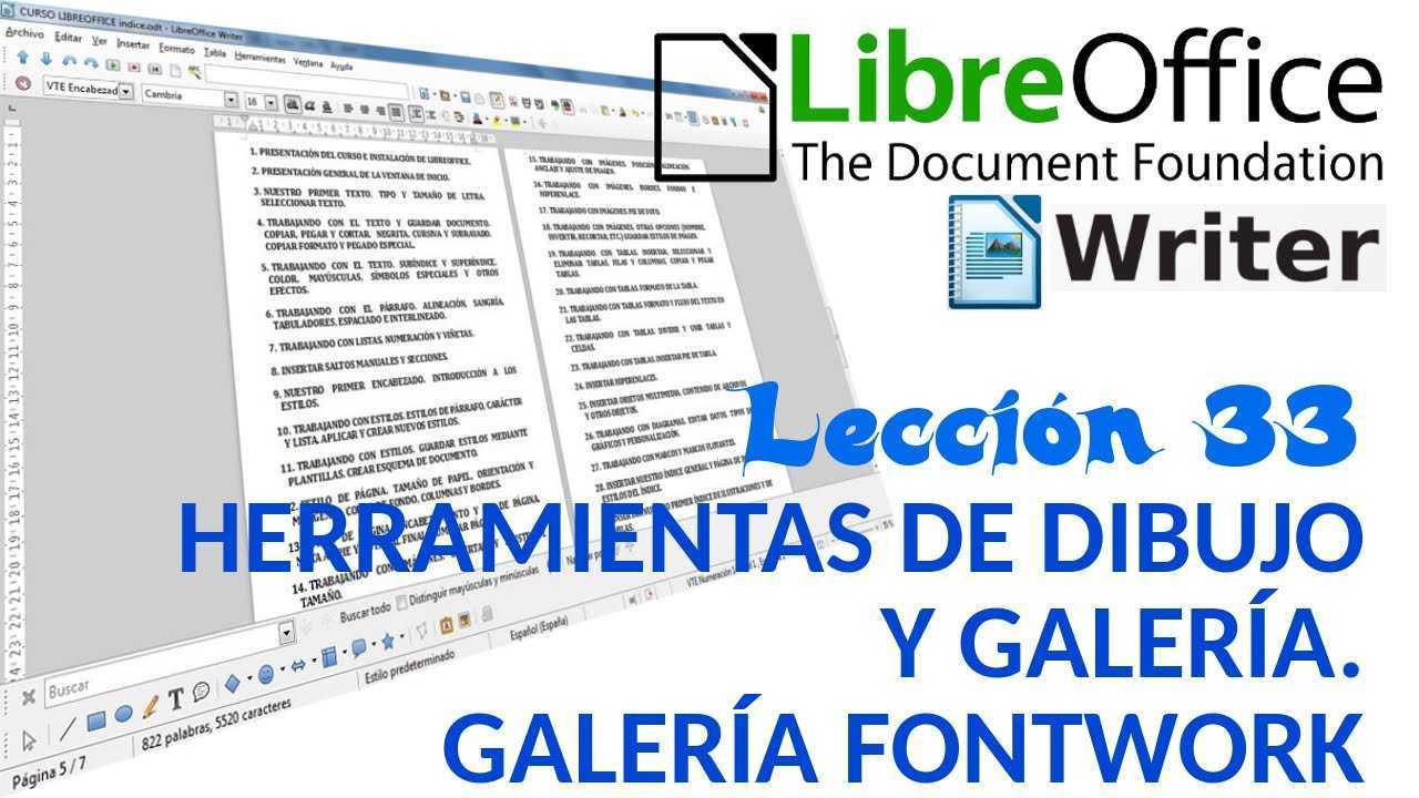 LibreOffice Writer 33/40 Herramientas de dibujo y galería. Galería fontwork.