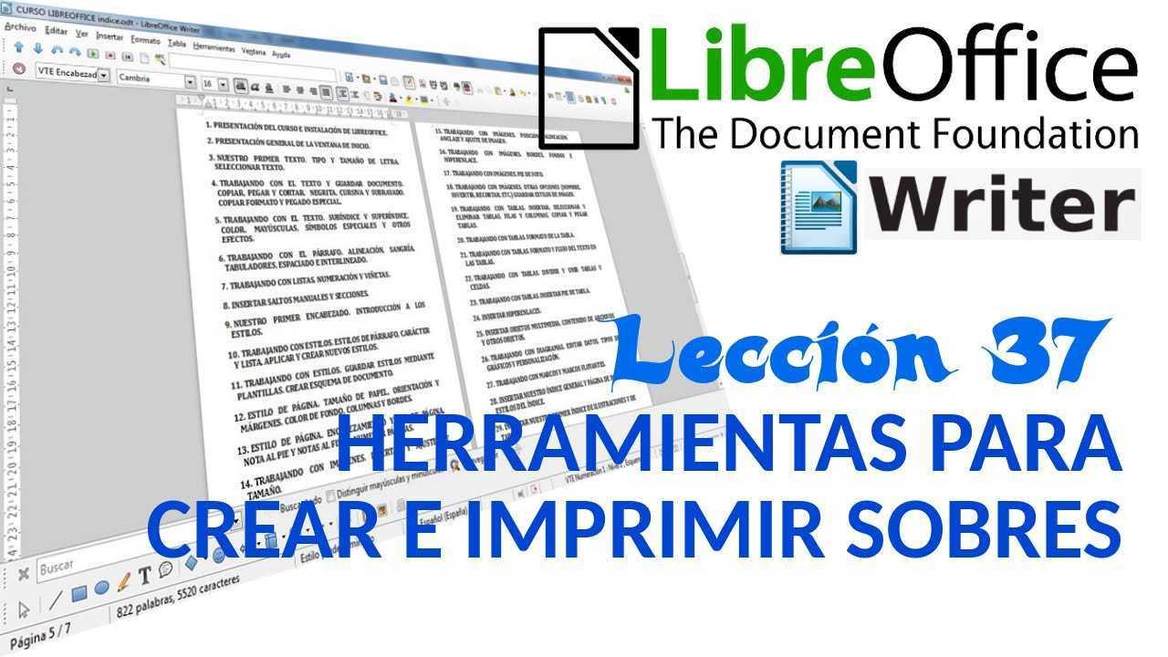 LibreOffice Writer 37/40 Herramientas para crear e imprimir sobres.