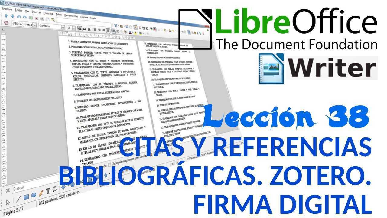 LibreOffice Writer 38/40 Citas y referencias bibliográficas. Zotero. Firma digital.