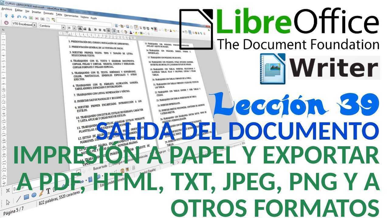 LibreOffice Writer 39/40 Impresión a papel y exportar a pdf, html, jpeg y png.