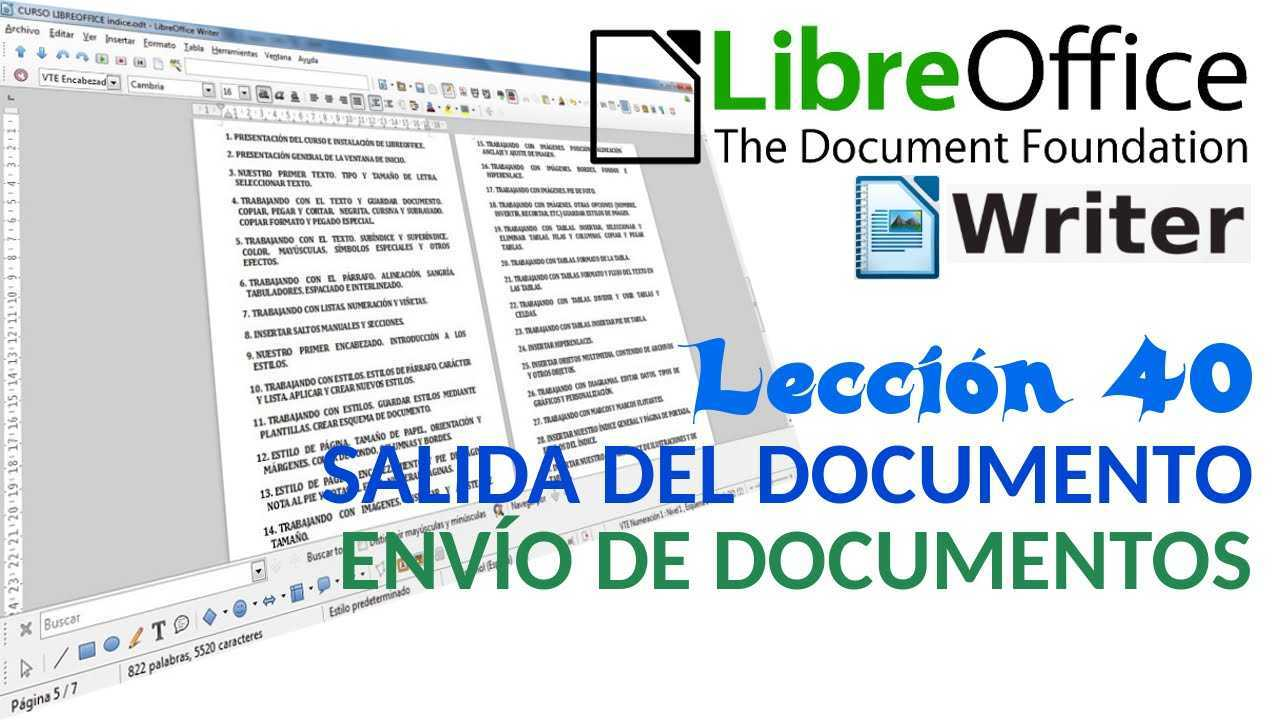 LibreOffice Writer 40/40 Salida del documento. Envío de documentos.