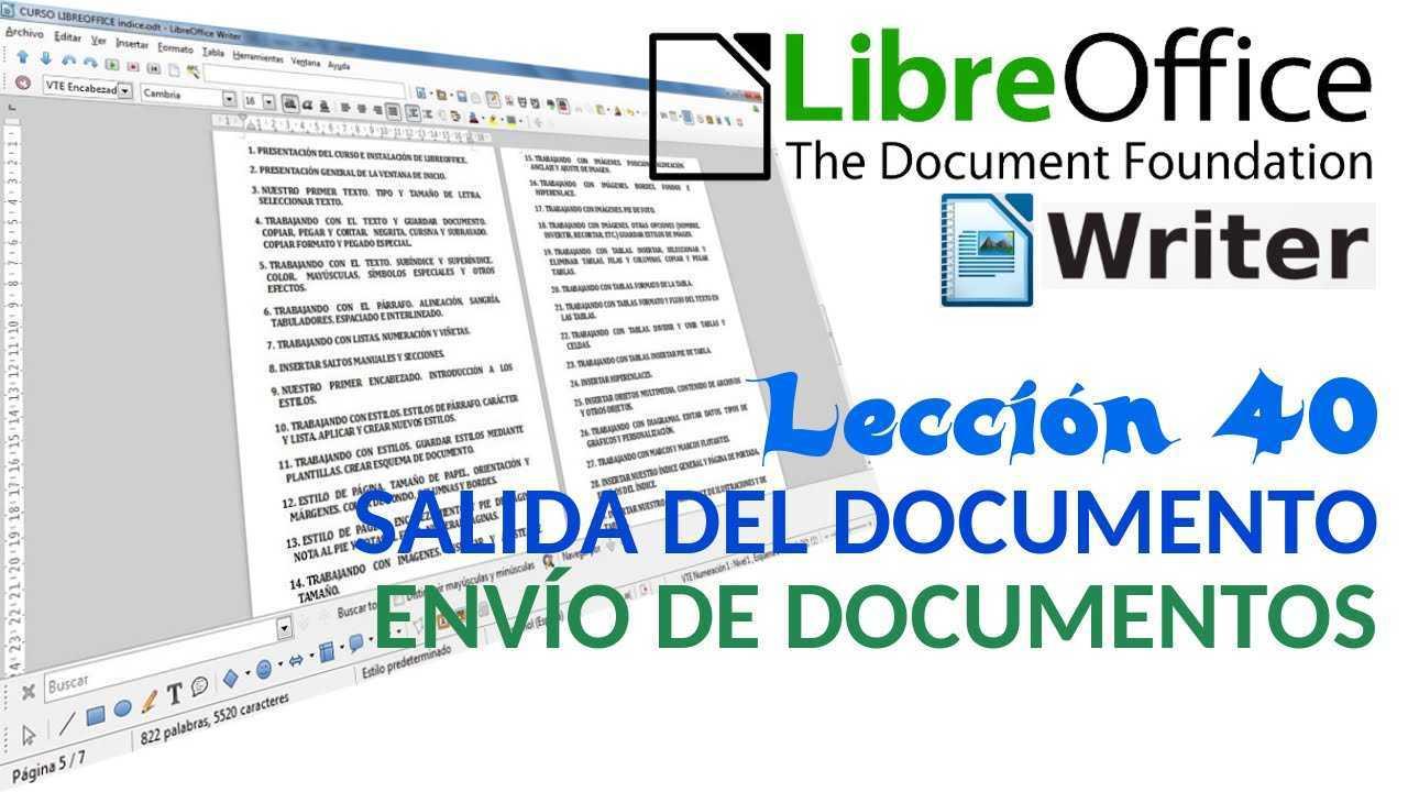 LibreOffice Writer 40/40 Salida del documento. Envío de documentos.