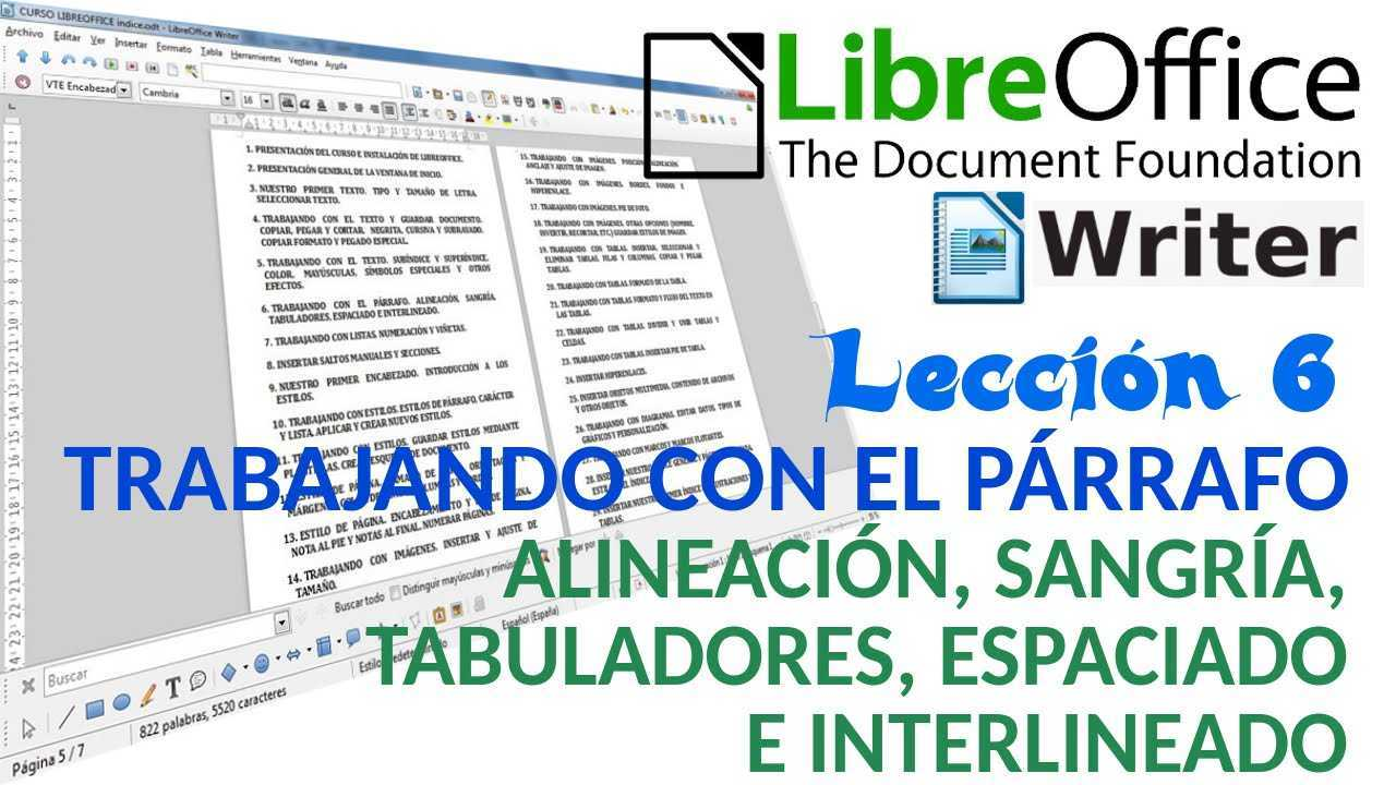 LibreOffice Writer 06/40 Alineación, sangría, tabuladores, espaciado e interlineado.