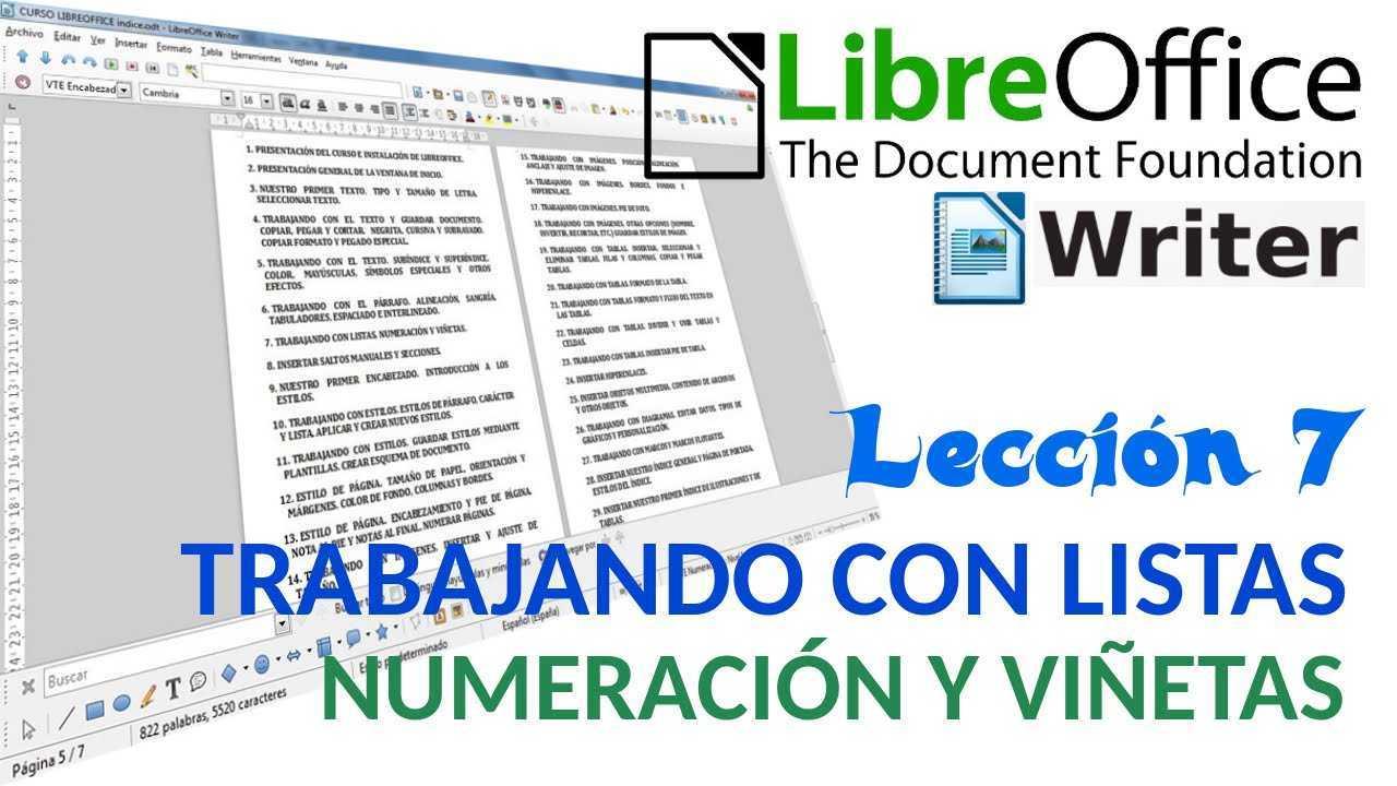 LibreOffice Writer 07/40 Trabajando con listas. Numeración y viñetas.