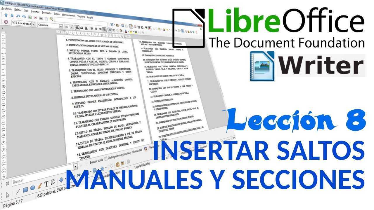 LibreOffice Writer 08/40 Insertar saltos manuales y secciones.