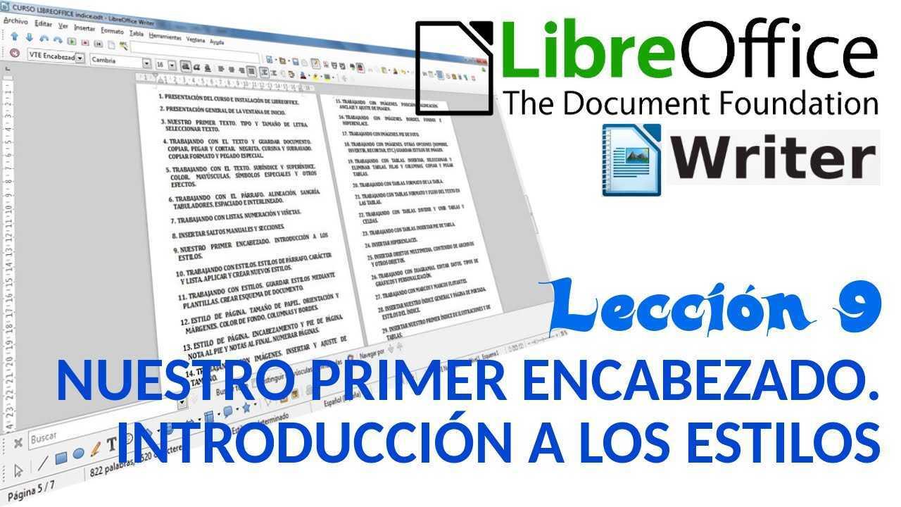LibreOffice Writer 09/40 Nuestro primer encabezado. Introducción a los estilos.