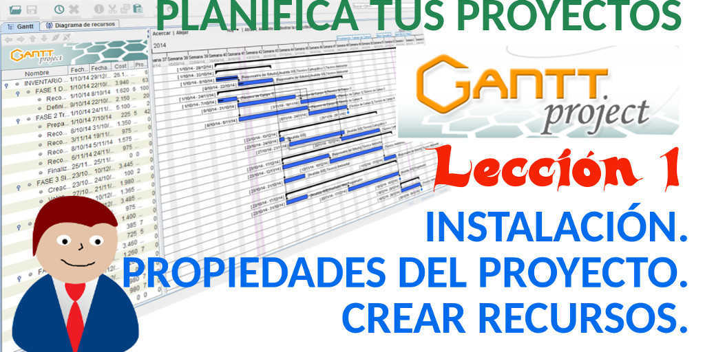 tutorial ganttproject español 1 instalación propiedades del