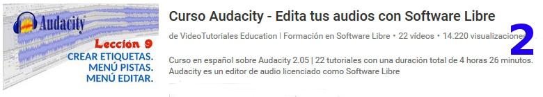 curso del software libre audacity en youtube