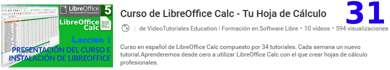 curso del software libre libreoffice calc en youtube