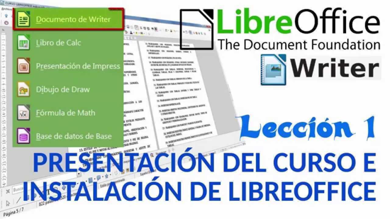 curso libreoffice writer lección 1