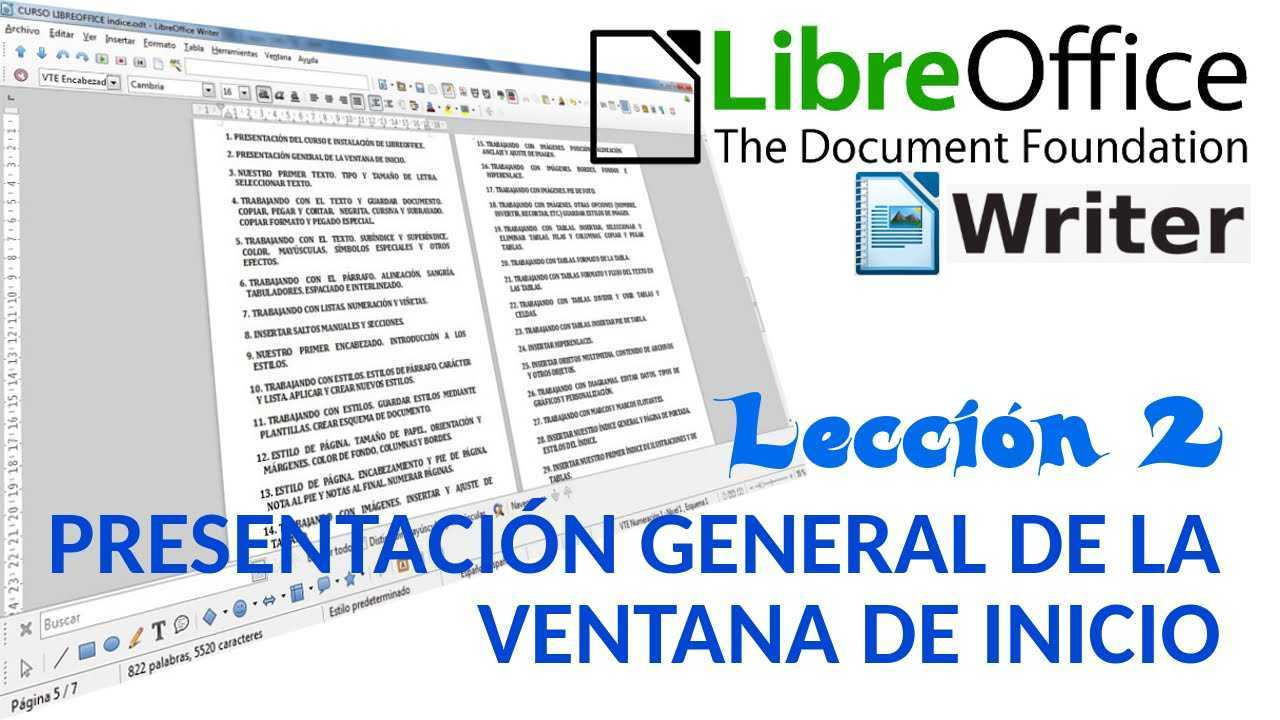 LibreOffice Writer 02/40 Presentación general de la ventana de inicio