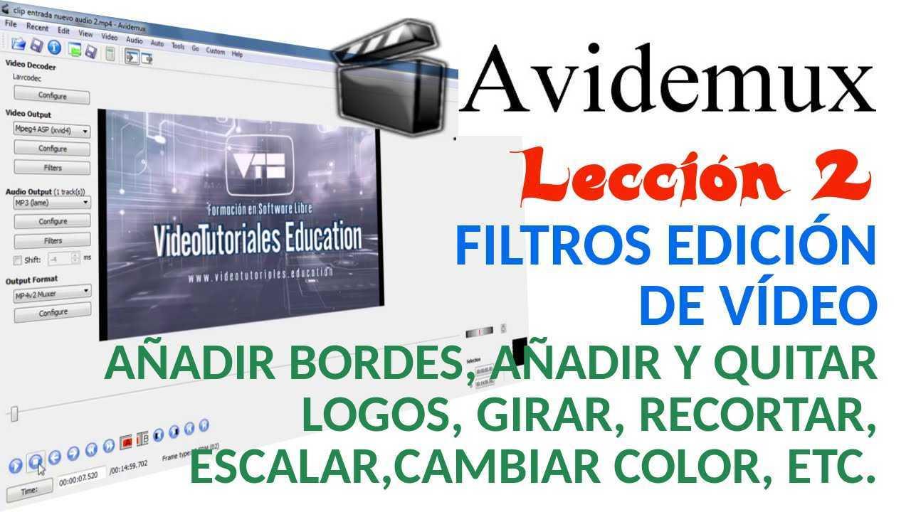 Avidemux 02/02 Filtros de edición de vídeo. Añadir bordes o logos, recortar, etc.