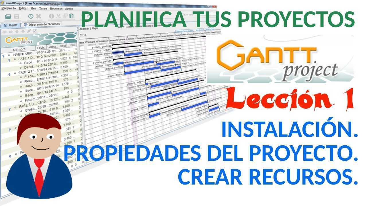 Ganttproject 01/04 Instalación. Propiedades del Proyecto. Crear recursos del proyecto.