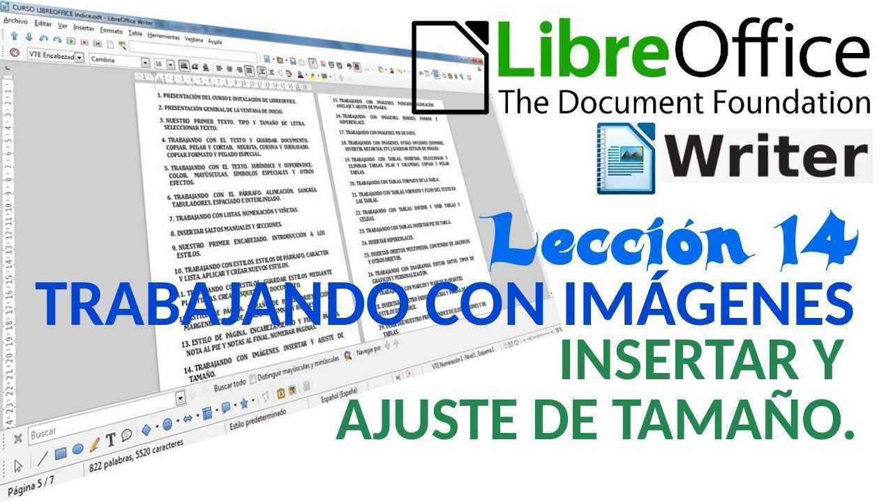 LibreOffice Writer 14/40 Trabajando con imágenes. Insertar y ajuste de tamaño.