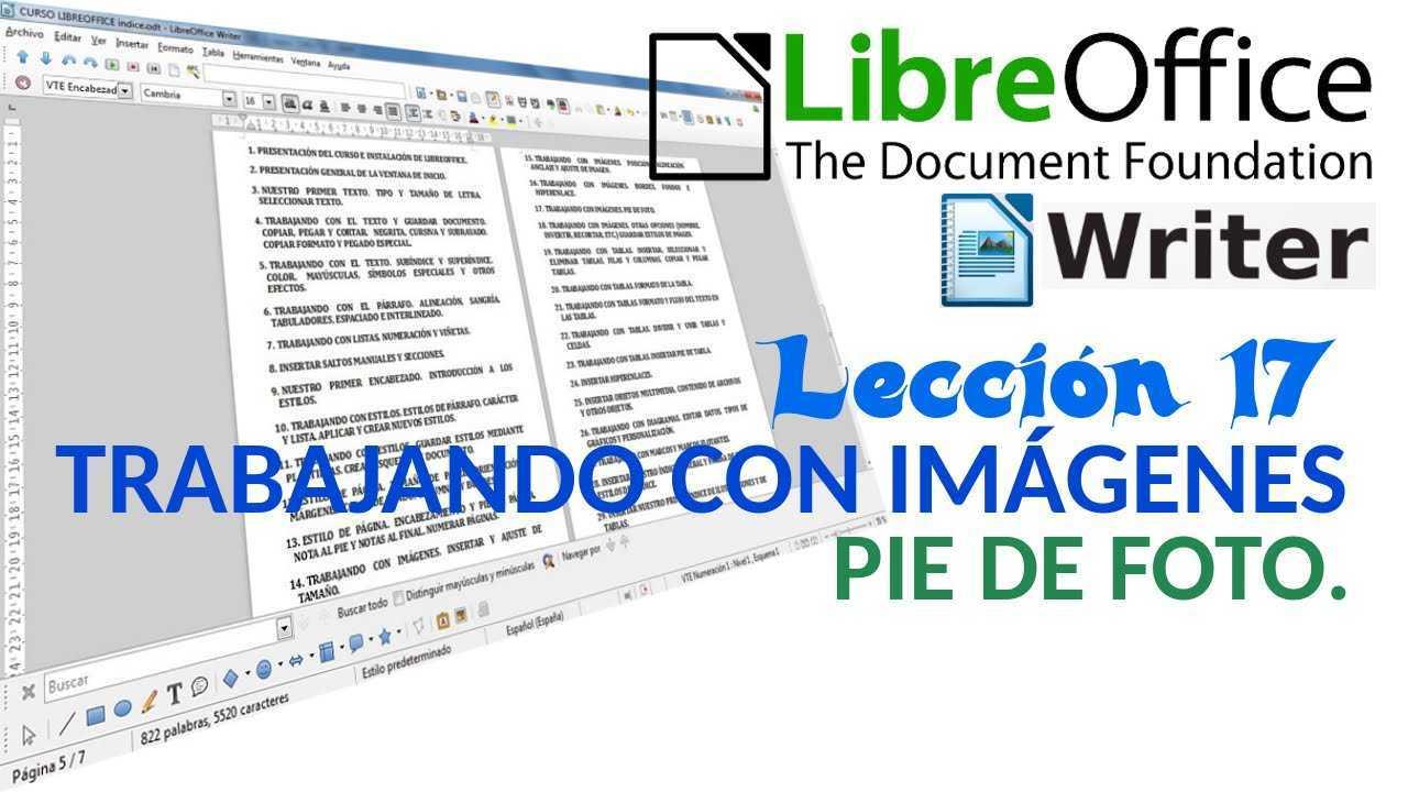 LibreOffice Writer 17/40 Trabajando con imágenes. Pie de foto.