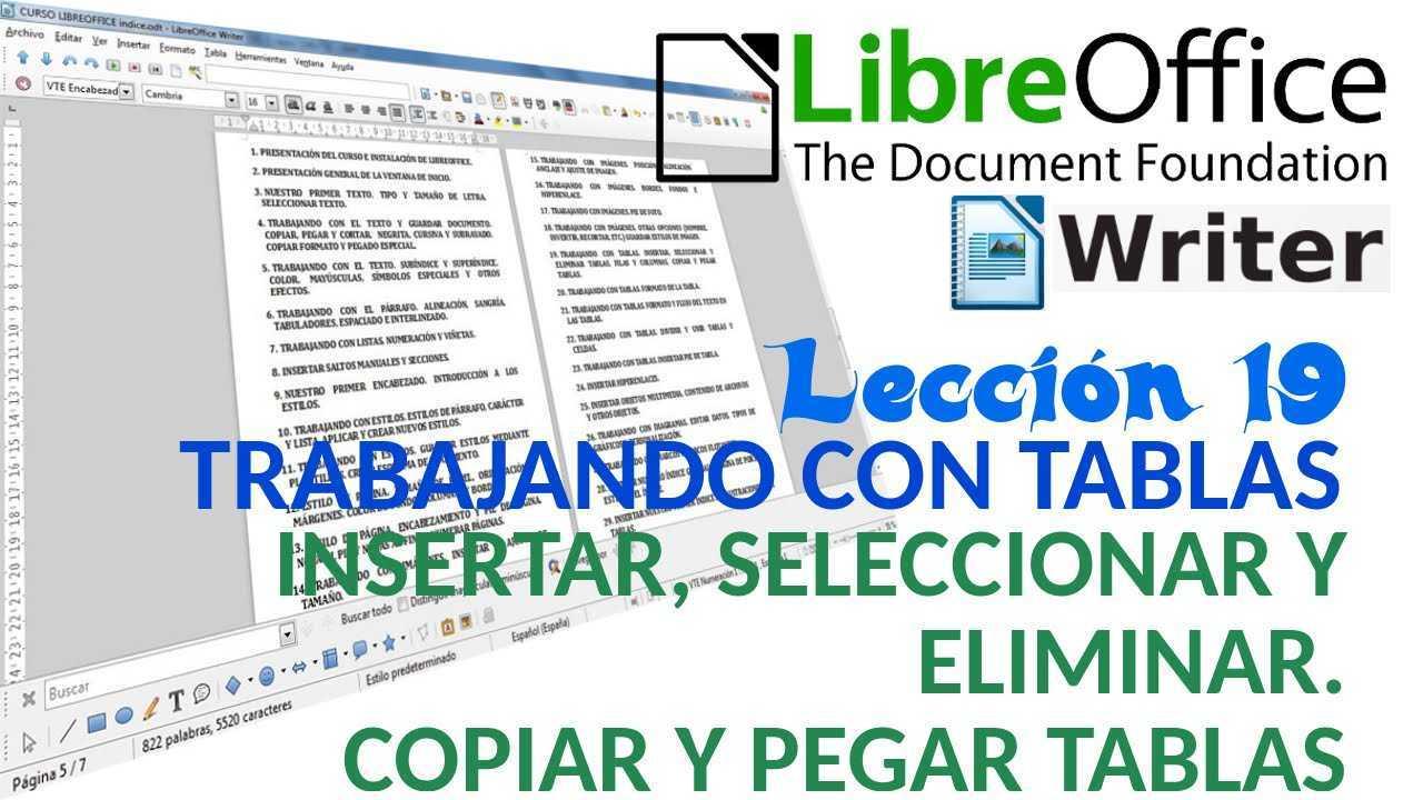 LibreOffice Writer 19/40 Trabajando con tablas. Insertar, seleccionar y eliminar tablas, filas y columnas.