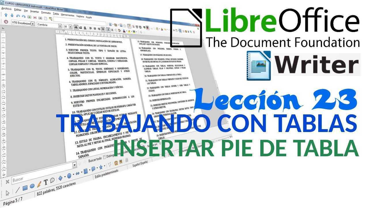 LibreOffice Writer 23/40 Trabajando con tablas. Insertar pie de tabla.