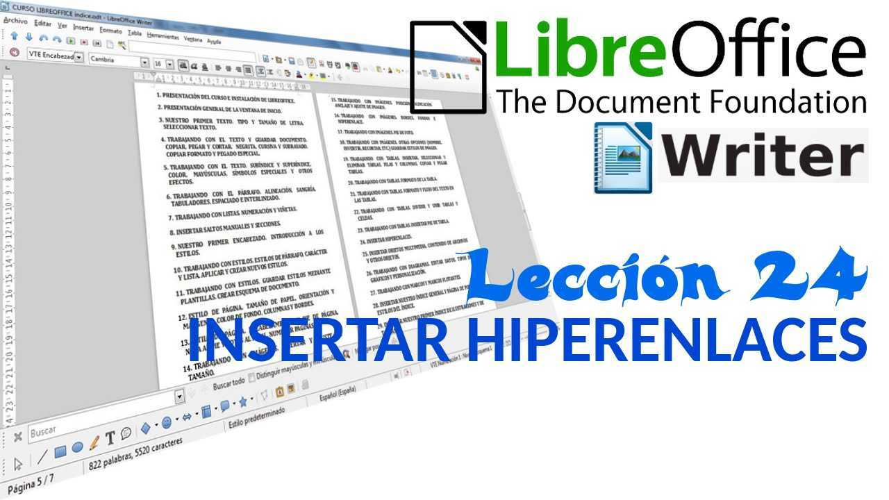LibreOffice Writer 24/40 Insertar hiperenlaces.