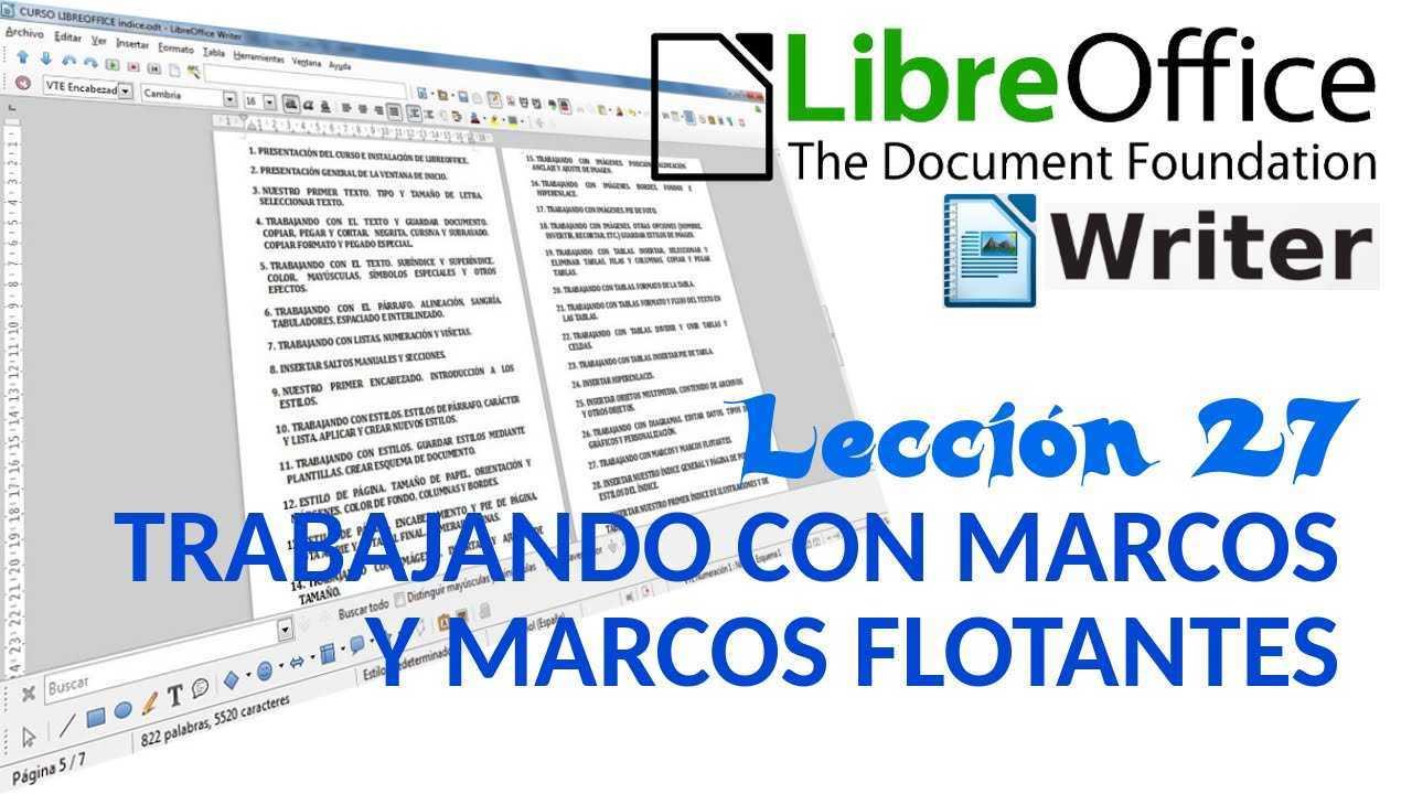 LibreOffice Writer 27/40 Trabajando con marcos y marcos flotantes.