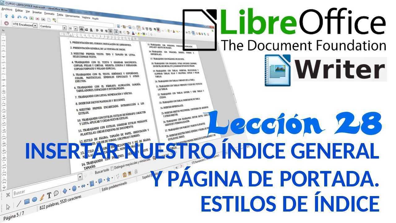 LibreOffice Writer 28/40 Insertar índice general y página de portada. Estilos del índice.