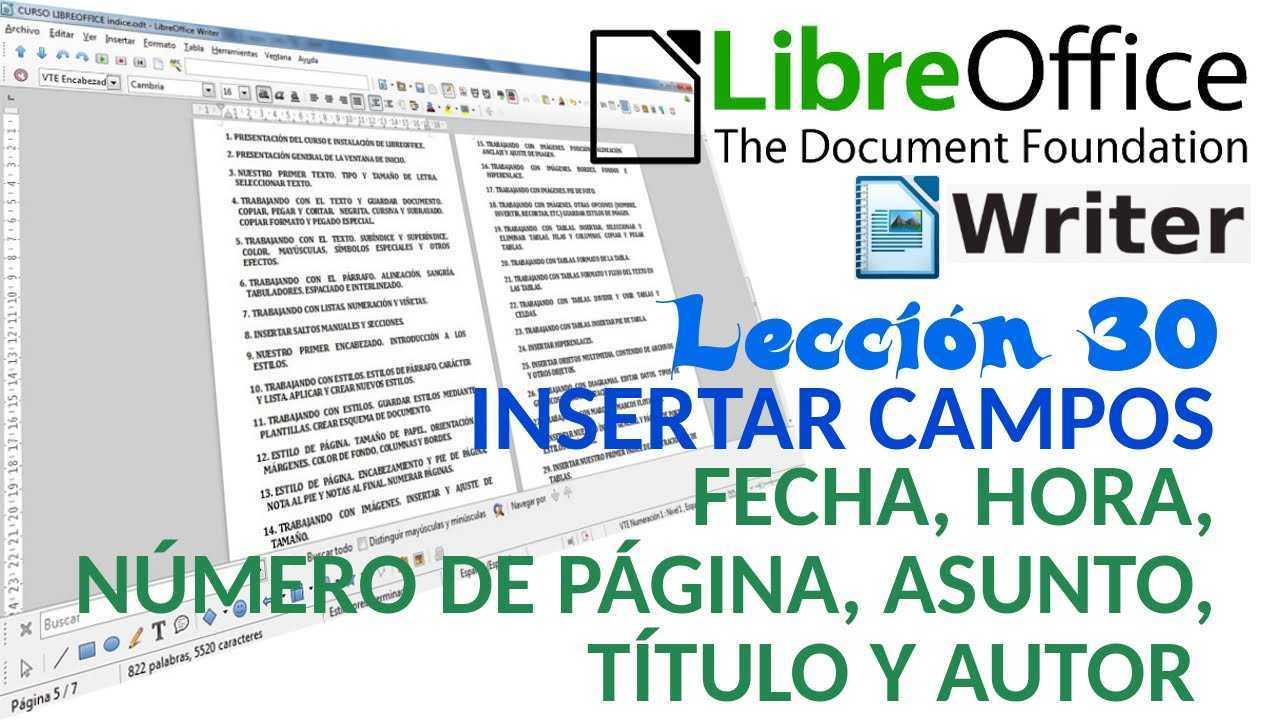 LibreOffice Writer 30/40 Insertar campos. Fecha, Hora, Nº Página, Asunto, Título y Autor.