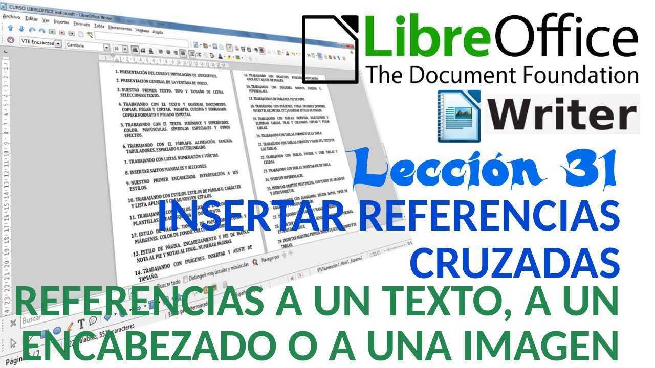 LibreOffice Writer 31/40 Referencias cruzadas. Referencia a texto, a encabezado o imagen.