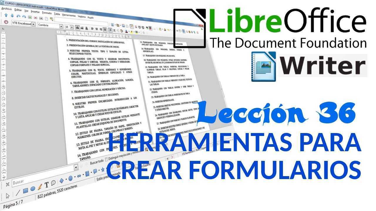 LibreOffice Writer 36/40 Herramientas para crear formularios.