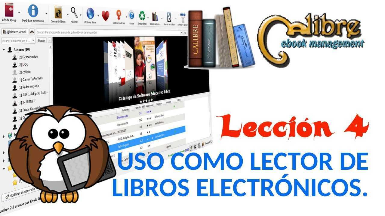 Calibre 04/05 Uso como lector de libros electrónicos (e-books).