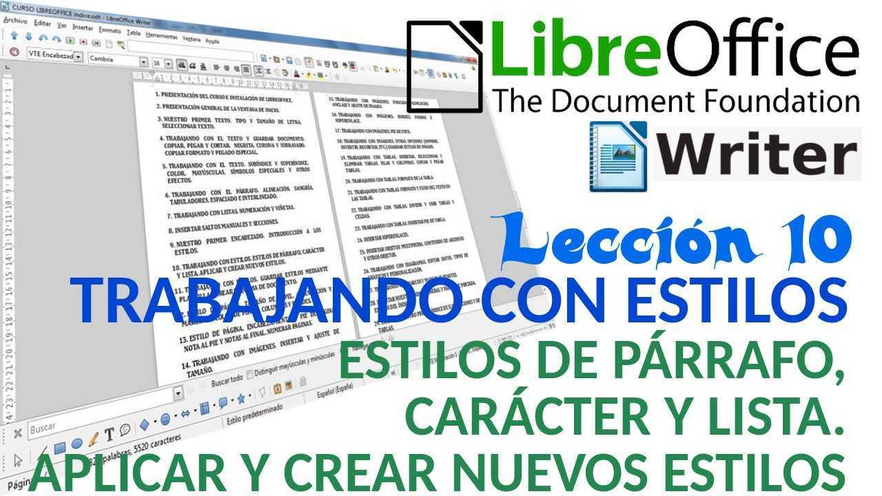 LibreOffice Writer 10/40 Estilos de párrafo, carácter y lista. Aplicar y crear estilos.